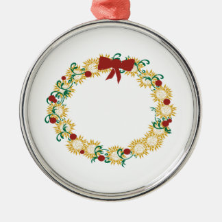 Holiday Wreath Round Metal Christmas Ornament