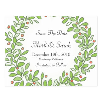 Holiday Wreath Sketched Save The Date Post Card