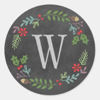 Holiday Wreath Sticker   Monogrammed