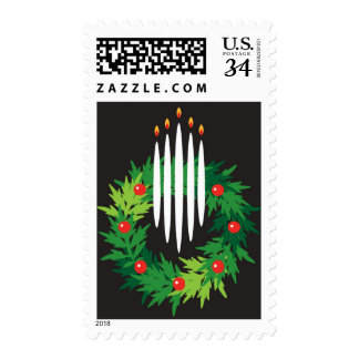 Holiday wreath with candles postage