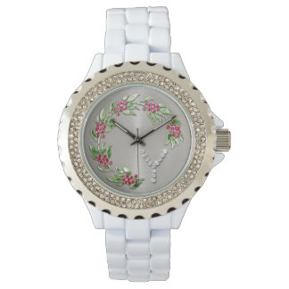 Holiday Wreath with Monogram Initial Y Wristwatch