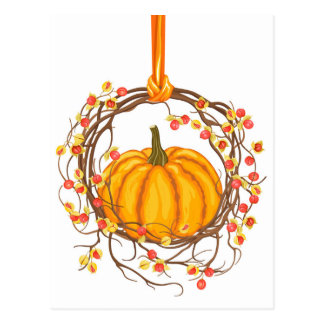 Holiday Wreath With Pumpkin Postcard