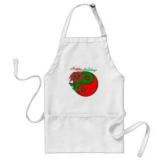 Holiday Yin Yang Poinsettia Green Red Adult Apron