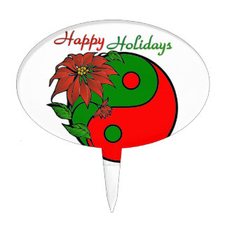 Holiday Yin Yang Poinsettia Green Red Cake Topper