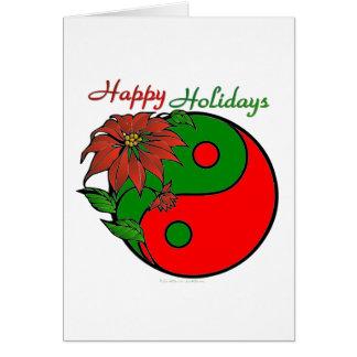 Holiday Yin Yang Poinsettia Green Red Card