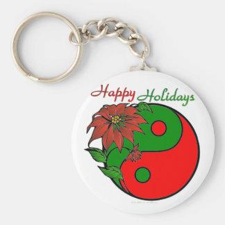 Holiday Yin Yang Poinsettia Green Red Keychain
