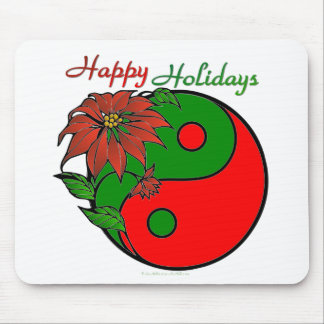 Holiday Yin Yang Poinsettia Green Red Mouse Pad