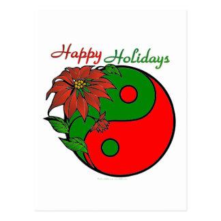 Holiday Yin Yang Poinsettia Green Red Postcard