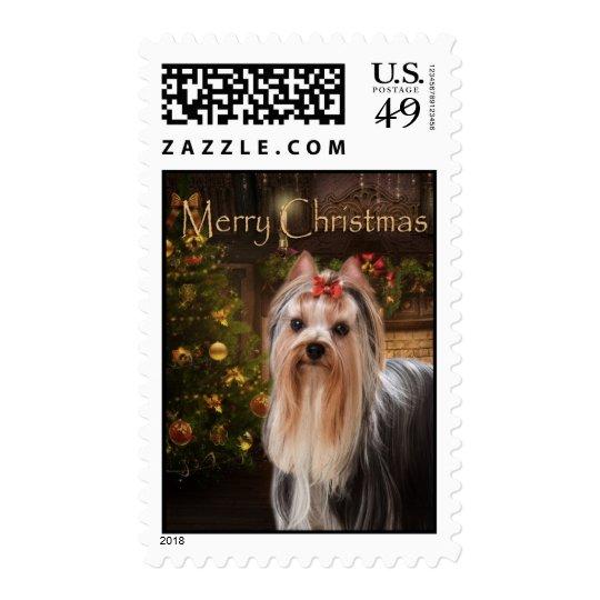 Holiday Yorkie Christmas Stamps