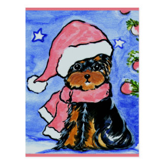 Holiday Yorkie Poo Postcard