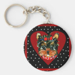 Holiday Yorkie Poos Basic Round Button Keychain