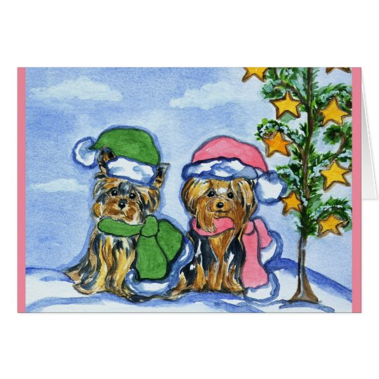 Holiday Yorkshire Terriers Card