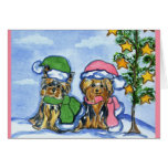 Holiday Yorkshire Terriers Greeting Card