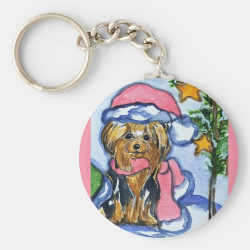 Holiday Yorkshire Terriers Key Chains