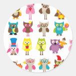HolidayOwls1 Classic Round Sticker