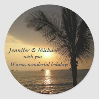 Holidays and Sunsets in the Tropics Classic Round Sticker