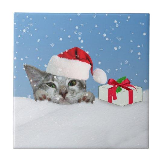 Holidays Cat in Santa Hat Tile