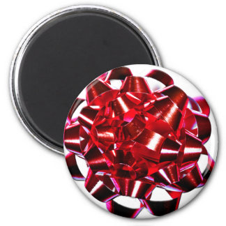 Holidays Christmas Winter Present Red Bow 2 Inch Round Magnet
