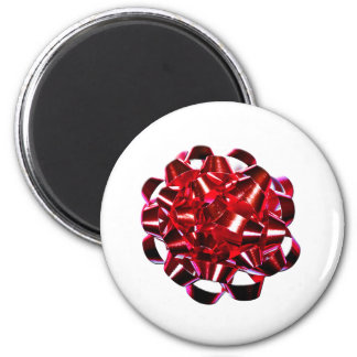 Holidays Christmas Winter Present Small Red Bow 2 Inch Round Magnet