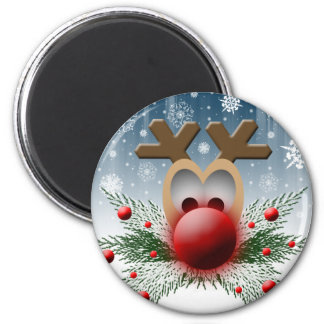 Holidays Christmas Winter Reindeer 2 Inch Round Magnet