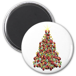 Holidays Christmas Winter Tree Decorated 2 Inch Round Magnet