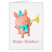 Holidays Cute Pig Card