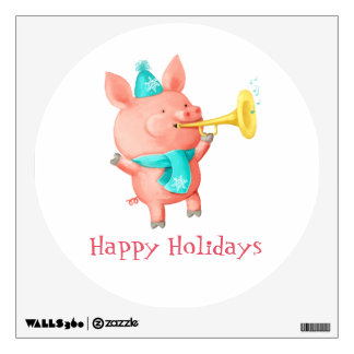 Holidays Cute Pig Wall Decals