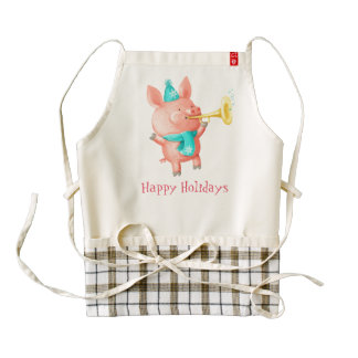 Holidays Cute Pig Zazzle HEART Apron
