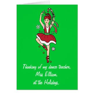 Holidays Dance Teacher Ballerina Name Customizable Card