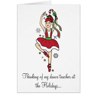 Holidays Dance Teacher Ballerina with Candy Cane Card