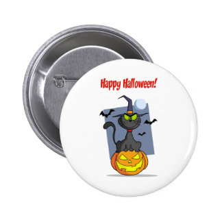 Holidays Greeting With Halloween Cat on Pumpkin Pin