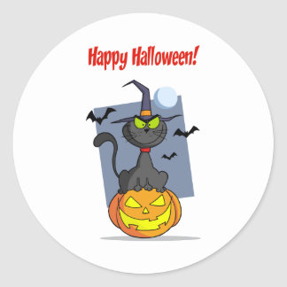 Holidays Greeting With Halloween Cat on Pumpkin Classic Round Sticker