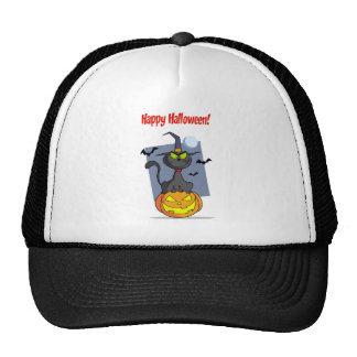 Holidays Greeting With Halloween Cat on Pumpkin Trucker Hat