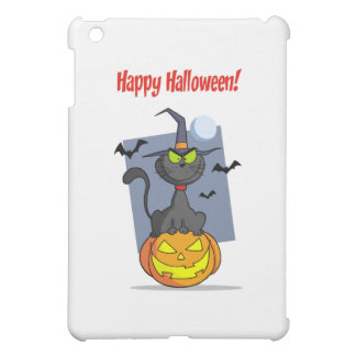 Holidays Greeting With Halloween Cat on Pumpkin Cover For The iPad Mini