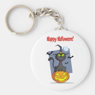 Holidays Greeting With Halloween Cat on Pumpkin Keychain
