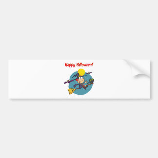 Holidays Greeting With Halloween Little Witch Bumper Sticker