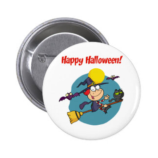 Holidays Greeting With Halloween Little Witch Pins
