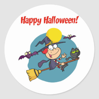 Holidays Greeting With Halloween Little Witch Classic Round Sticker