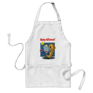 Holidays Greeting With Halloween Vampire Adult Apron