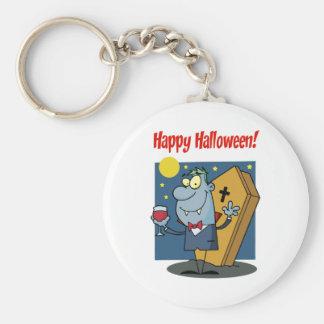 Holidays Greeting With Halloween Vampire Basic Round Button Keychain