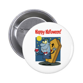Holidays Greeting With Halloween Vampire Buttons