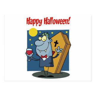 Holidays Greeting With Halloween Vampire Postcard