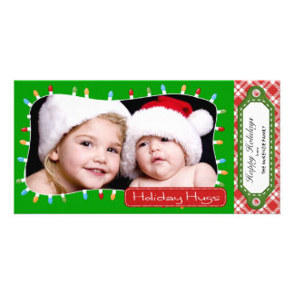 Holidays hugs (Green) Custom Photo Card