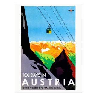 Holidays in Austria Restored Vintage Travel Poster Postcard