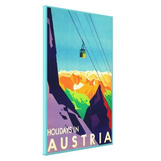 Holidays In Austria ~Vintage Travel Gallery Wrapped Canvas