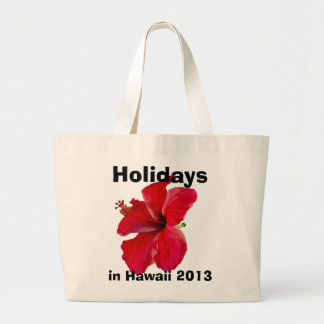 Holidays in Hawaii Red Hibiscus Large Tote Bag