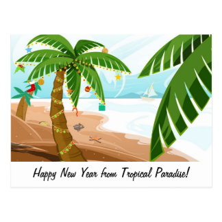 Holidays in tropical paradise postcard