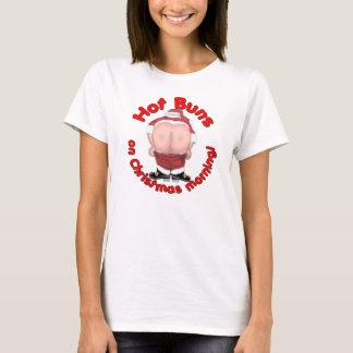 Holidays Ladies T Shirt Hot Buns Mooning Santa