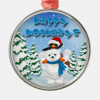 Holidays Polar Bear Penguin Premium Round Ornament
