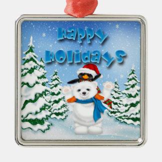 Holidays Polar Bear Penguin Premium Square Ornamen Metal Ornament